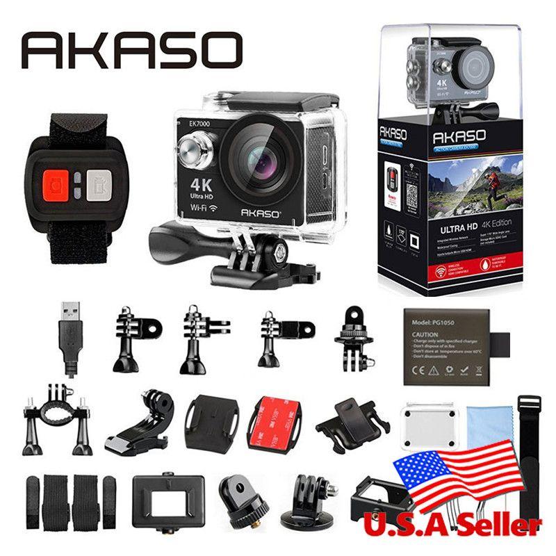 AKASO EK7000 4 k WIFI Action Extérieure Caméra Ultra HD Aller Étanche Cam Pro vélo casque Vidéo Sports Extrêmes En Mouvement caméras Cadeau