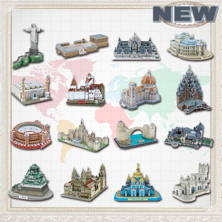Educational Toys <font><b>Famous</b></font> Architecture Model 3D Jigsaw Puzzles For Adults Osaka Peles Bran Castle Las Ventas Toys For Children