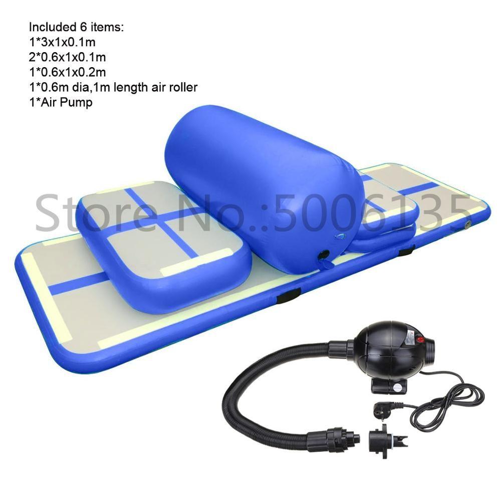 Kostenloser Versand 6 Stück (4 matte + 1 roller + 1 pumpe) aufblasbare Home Gym Ausrüstung Air Track Training Set/Air Gym Matte Für Home Edition