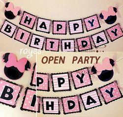 Minnie mouse party bunting 1 spanduk/tas, 15 bendera per bunting pihak nikmat dekorasi ulang tahun baby shower AW-0702