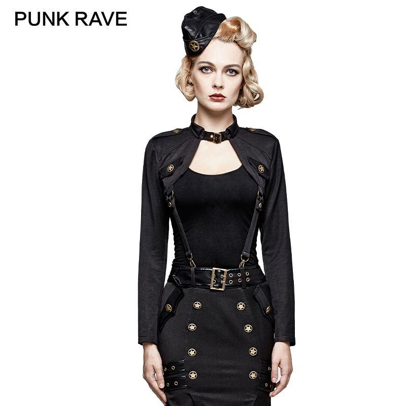 PUNK RAVE Military Uniform Handsome Fashion Punk Rock T-Shirt Black Woman Army Tops Long Sleeves Harajuku Topics Marvel Unique