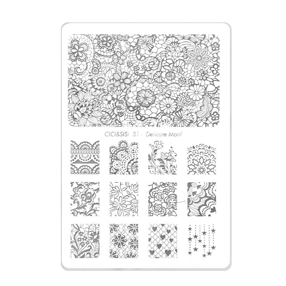 CICI&SISI Acrylic Nail Art Print Stamping Plates Good Quality Nail Polish Template Manicure Stencil DIY Styling Tools #31-#36