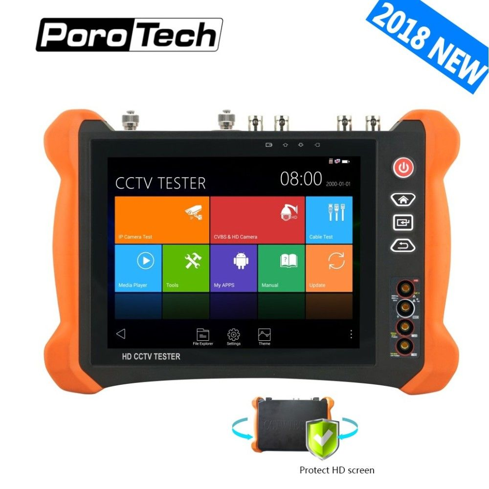 2018New 8inch CCTV Tester Monitor X9 8MP TVI CVI 5MP AHD SDI CVBS H.265 4K IP Camera tester with OPM,TDR,Cable tracer,Multimeter