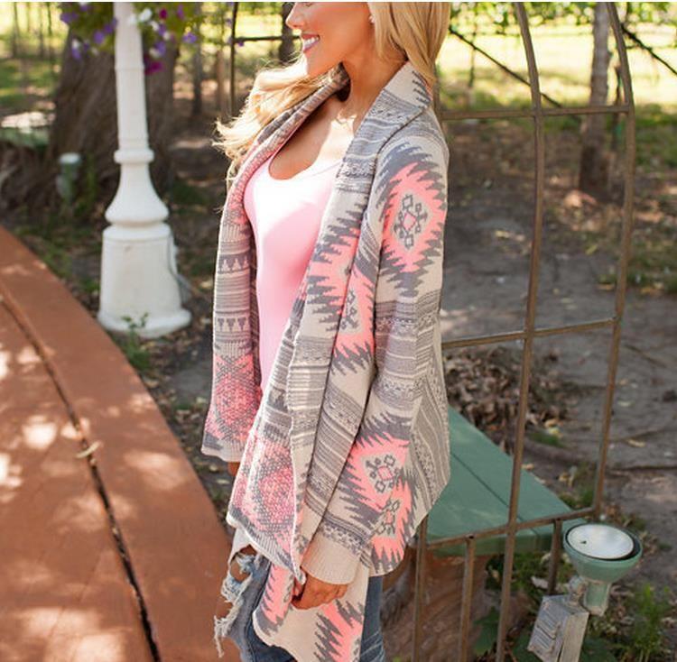 Mode hiver Kimono Cardigan Tricoté À Manches Longues Poncho Pull Impression irrégulière sexy dame chaude Vestes Cardigan Femmes Tops