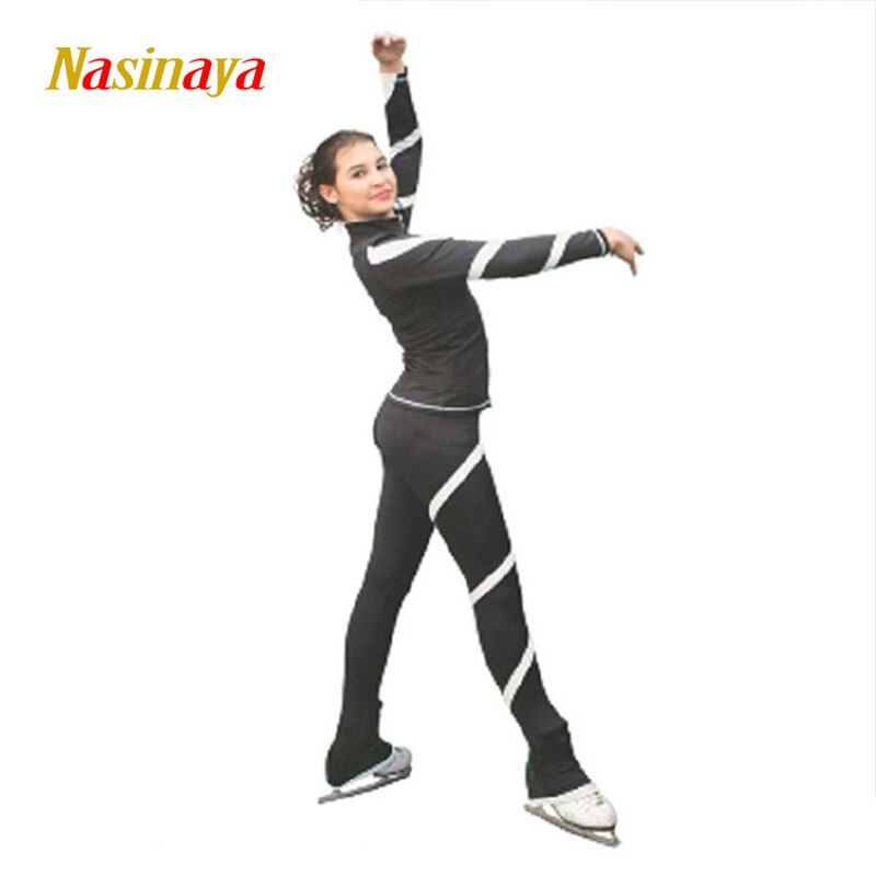 19 Farben Maßgeschneiderte Kleidung Eislaufen Eiskunstlauf Anzug Jacke Und Hose Skater Warme Fleece Erwachsene Kind Mädchen Weiß Twining