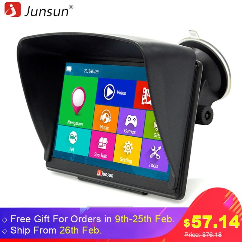 Junsun 7 inch HD Car GPS Navigation Bluetooth AVIN Capacitive screen FM 8GB Vehicle Truck GPS Europe Sat nav Lifetime Map