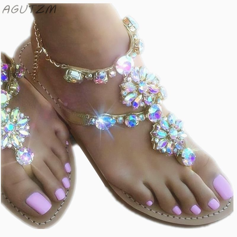 AGUTZM 2018 Woman Sandals Women Shoes <font><b>Rhinestones</b></font> Crystal Chains Thong Gladiator Flat Sandals Chaussure Plus Size 35-47