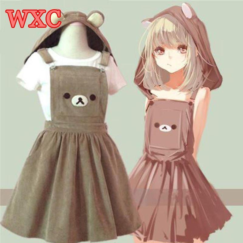 Ours Rilakkuma bretelles robe Lolita bretelles Mori fille Kawaii robe école vêtements Vestido navire de nous drop Shipping