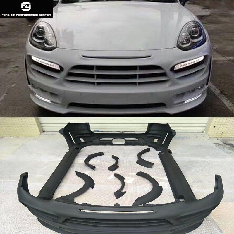 958,2 HM stil FRP Wide body-kit stoßstange vorne stoßstange hinten seite röcke räder augenbrauen nahen heraus für Porsche Cayenne 958,2 15-17