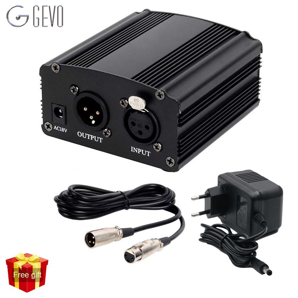 GEVO 48v phantom power supply with adapter EU 3M audio XLR cable for condenser microphone studio music voice recording equipment