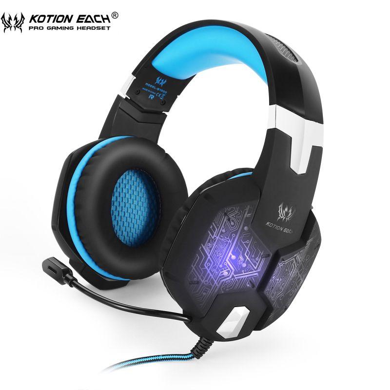 Casque de jeu KOTION chaque casque de joueur de G1000 PC au-dessus du bruit d'oreille Lsolating casque de lumières LED respiration avec le Microphone
