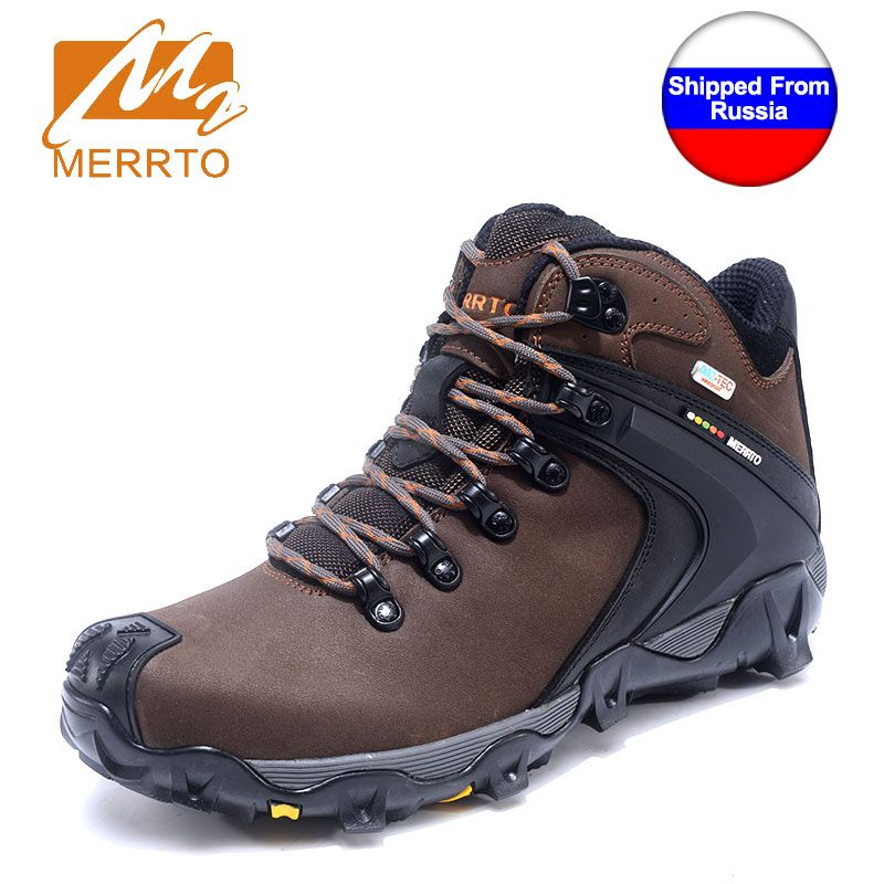 MERRTO Winter Man Waterproof Hiking Shoes For Male Sneakers Breathable Men Trekking Walking Shoes Genuine Leather Mountain Boots