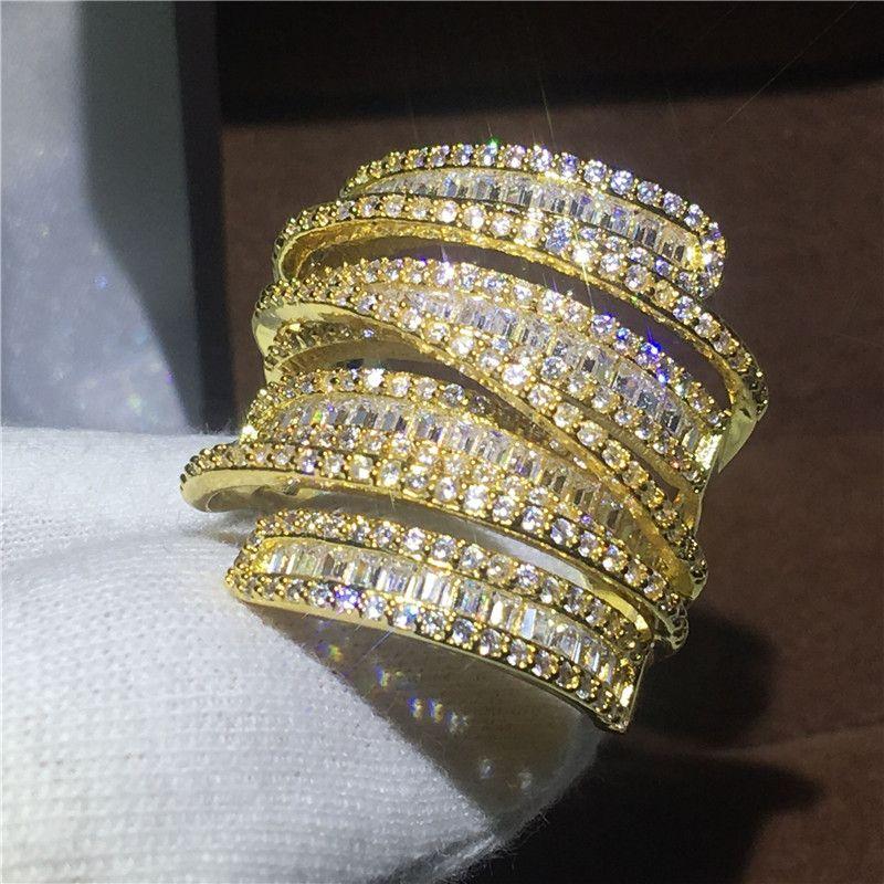 Anillo de Oro Amarillo Lleno de lujo Grande Engagement wedding band anillos para las mujeres T forma AAAAA circón cristal de plata 925 Bijoux regalo