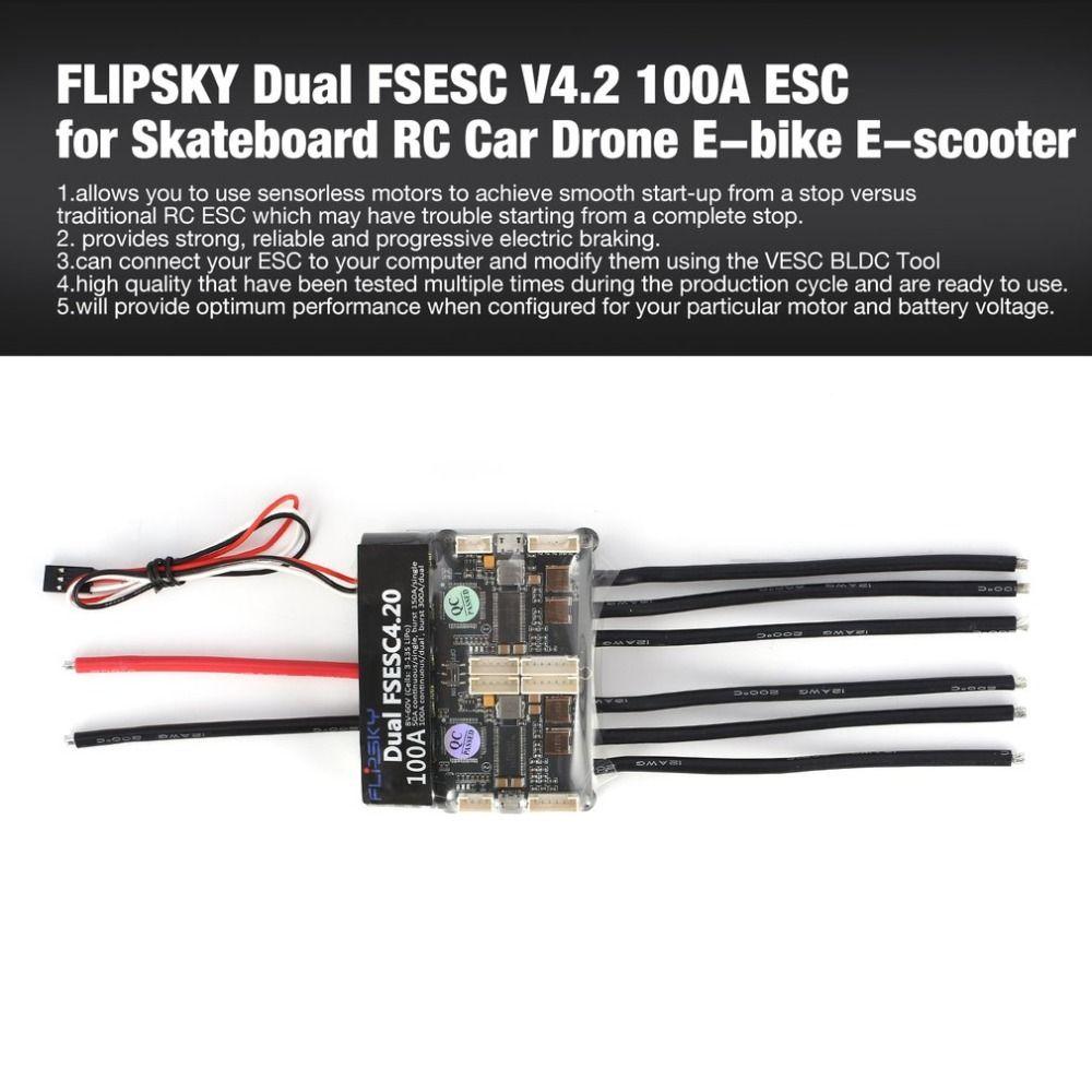 HGLRC FLIPSKY Dual FSESC 4,2 100A ESC Elektronische Geschwindigkeit Steuerung für Elektrische Skateboard RC Auto Boot E-bike E -roller Roboter