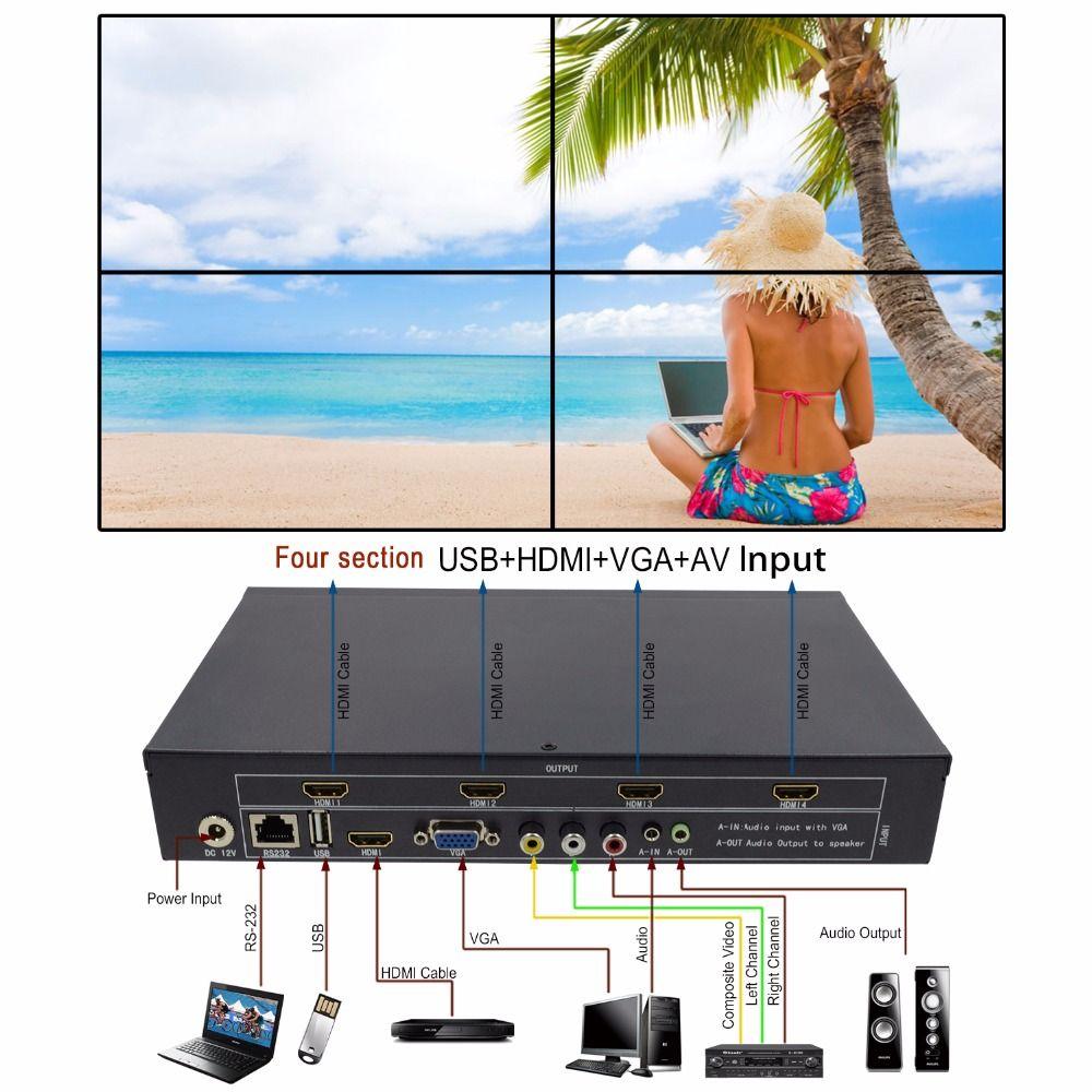 LM-TV04 Video Wand Controller HDMI VGA AV USB Prozessor 2x2 Vier bilder nähte bild prozessor 4 TV zeigt ein bildschirm spleißen