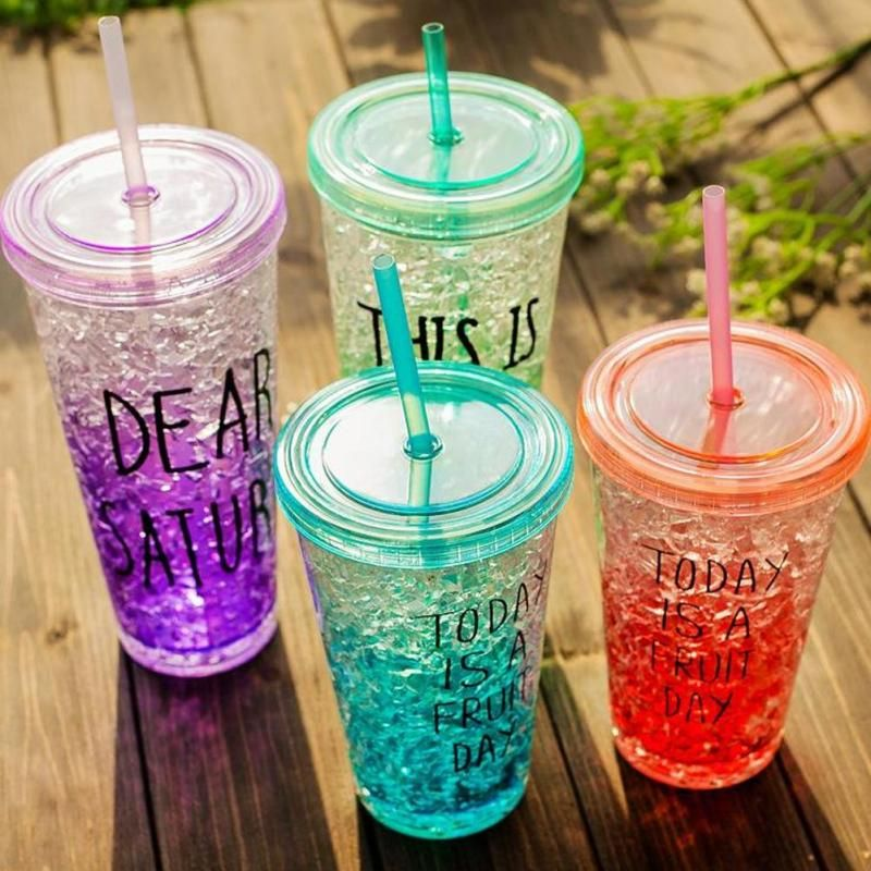 1Pc Smoothie Iced Coffee Juice Water Drink ware Fashion Candy Colors Double Wall Milk Bottle Beaker Lid With Straw Drinkware A35