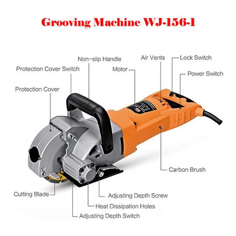 5200W WJ-156-1 Multifunction Wall Groove Cutting Machine Wall Groove Machine Wall Chaser Machine For Brick and Granite Marble