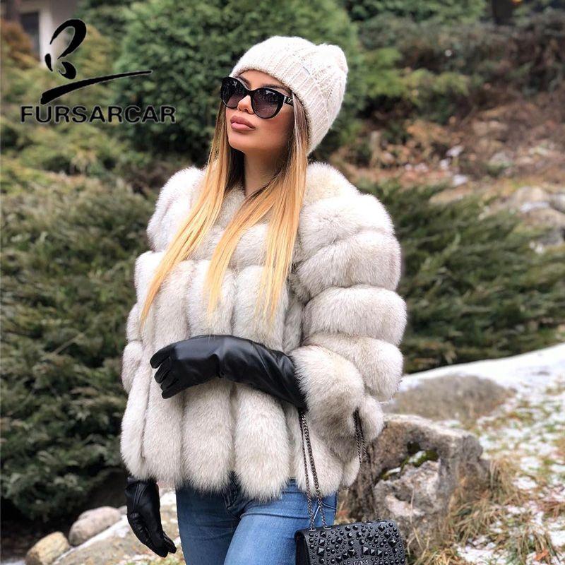 FURSARCAR 2018 Fashion Genuine Leather Natural Fox Fur Coat For Women O-Neck 55 CM Short Female Fox Fur Jacket