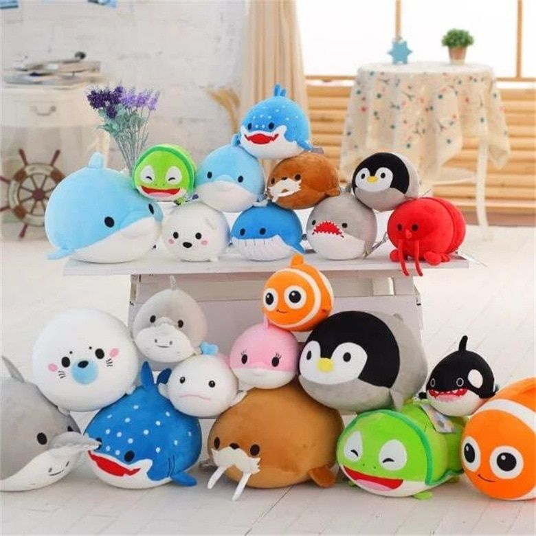 20CM Cute Dolphin Seals Walruses Killer Whales Whale Sharks Plush Toys Ocean Alliance Children Doll Dolls Foam Particles toys
