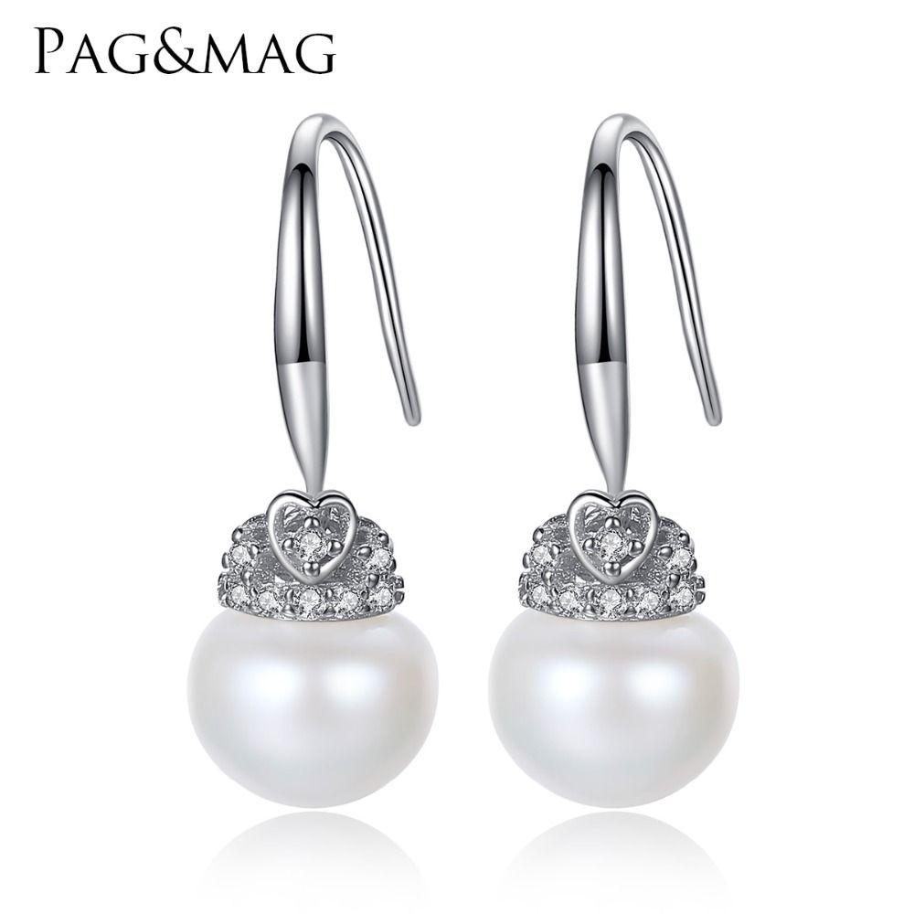 PAG и mag бренд Crown Форма Симпатичные Серебро 925 украшения АААА 9-9.5 мм бисера природных Серьги с жемчугом подарок для обувь для девочек оптовая п...