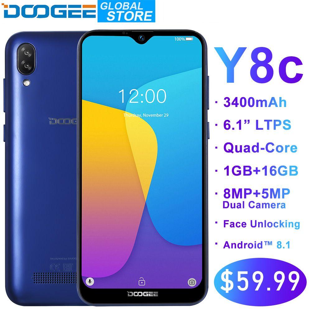 Original DOOGEE Y8c Android 8.1 6.1 pouces Waterdrop LTPS écran Smartphone MTK6580 1 GB RAM 16 GB ROM 3400 mAh double SIM 8MP + 5MP WCDMA