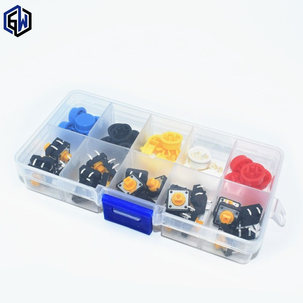 25 PCS Tactile Push Button Switch Momentary 12*12*7,3 MM Micro schalter taste + 25 PCS Takt kappe (5 farben)