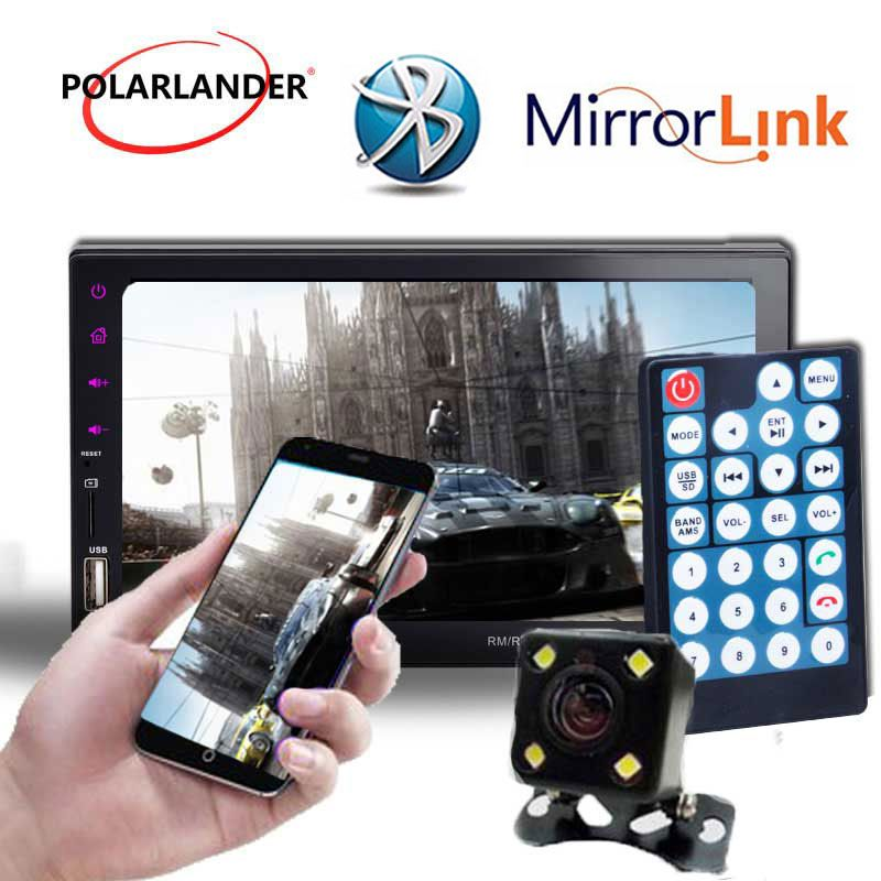 2DIN 7Inch Car Mirror For Android Phone Radio Player Touch Screen Bluetooth FM/TF/USB Handsfree Rear View Camera Mirror Link