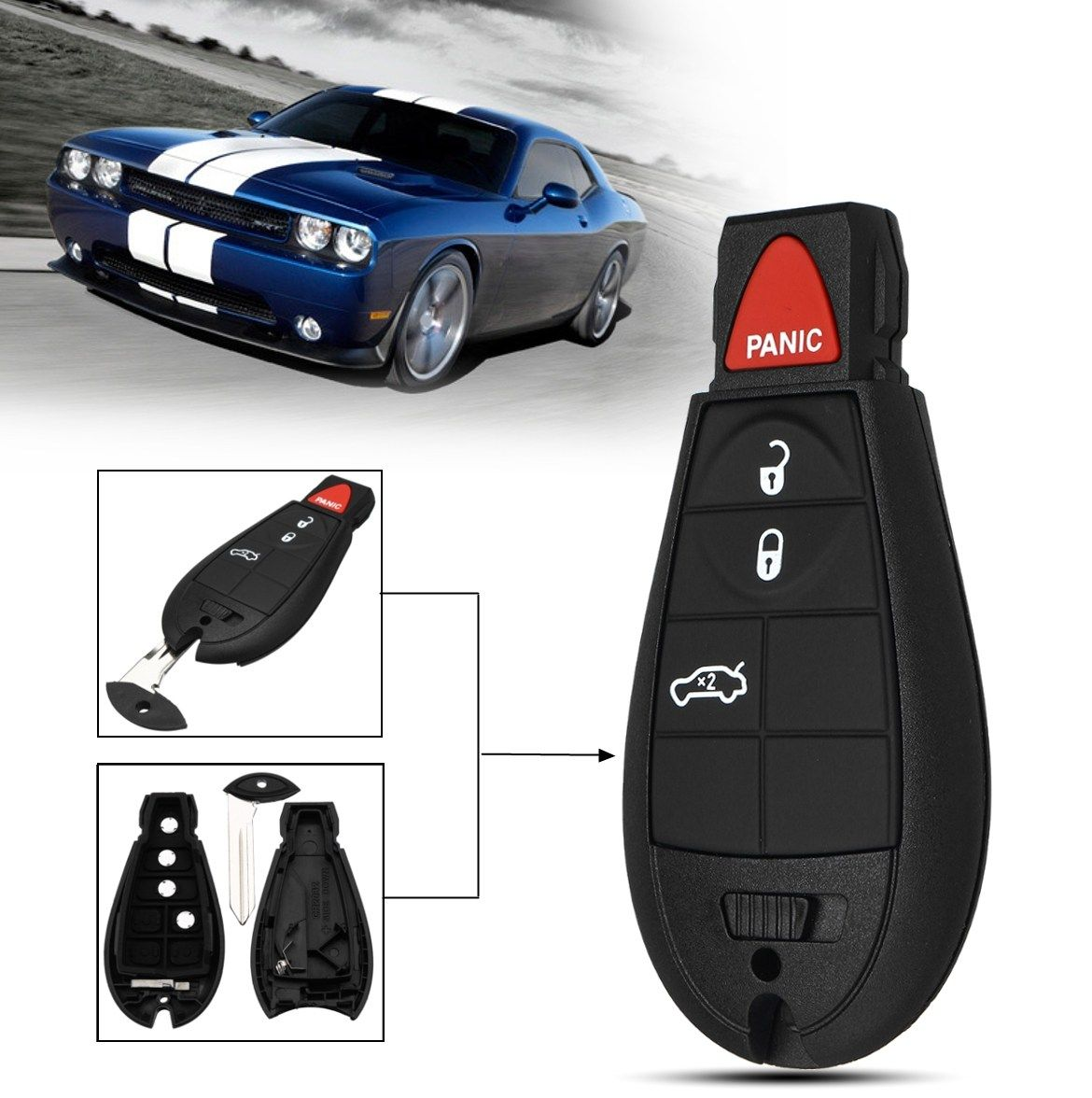 4+3 Buttons Car Remote Key Fob Case Shell For Dodge/Jeep/Chrysler/Magnum Durango Journey Ram Commander 300 1500 2500 3500 4500