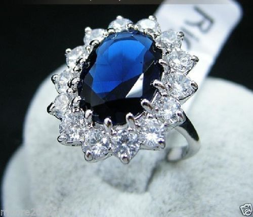 FREE SHIPPING>>>@@ Wholesale price 16new ^^^^luxury Crystal Blue Bval Ring size 6 7 8