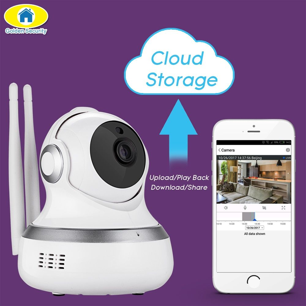 Golden Security 720P Cloud Storage Cam WiFI IP Camera Motion Detection APP Remote Baby Monitor Security Camera for 2018