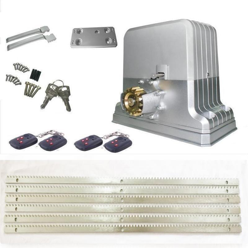 factory sale 1800kg electric sliding gate opener motors engine with 6m steel racks 4 remote (sensor lamp keypad GSM optional )