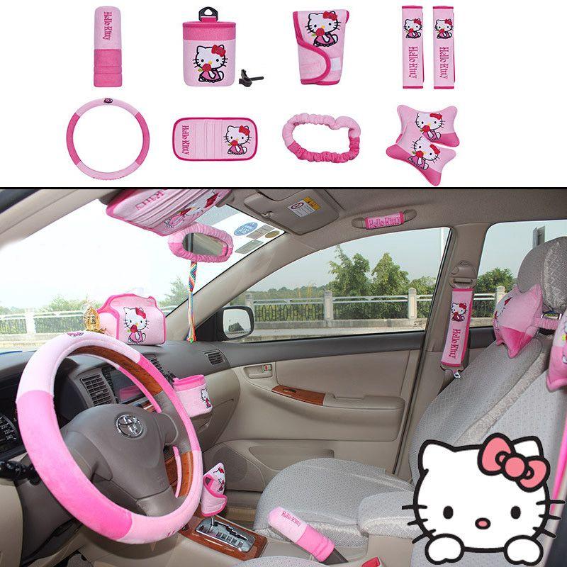 MUNIUREN 10pcs / set Cute Cartoon Car Seat Cover Interior Accessories Plush Universal Steering Wheel Cover for Women
