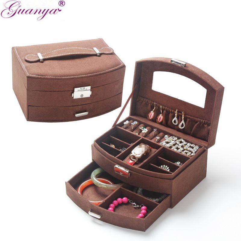 Guanya Portable En Éventail Suede Bijoux Boîte Avec Tiroir Pour Le Stockage De Bijoux Princesse Vinaigrette Cadeaux Pour Le Mariage D'anniversaire