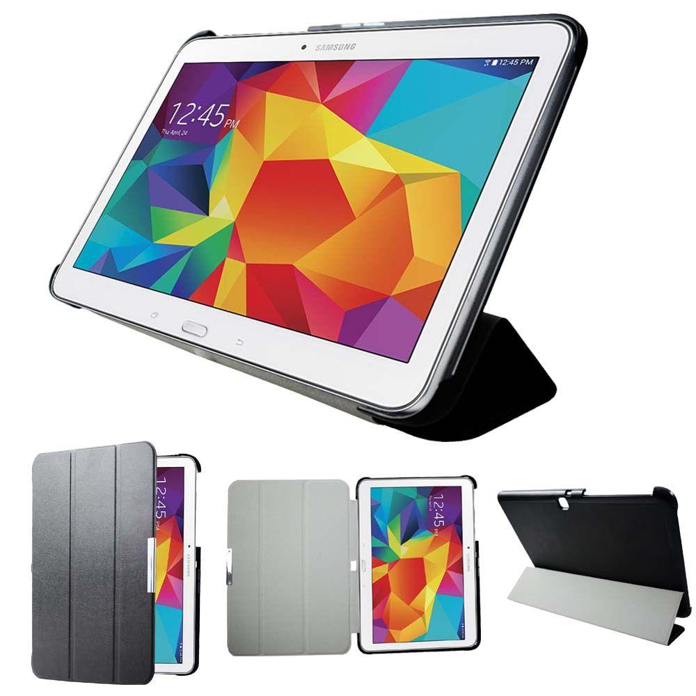 Sm-t530 t535 t531 tablette étui socle pour Samsung Tab 4 10.1 Ultra mince en cuir étui intelligent magnétique veille automatique
