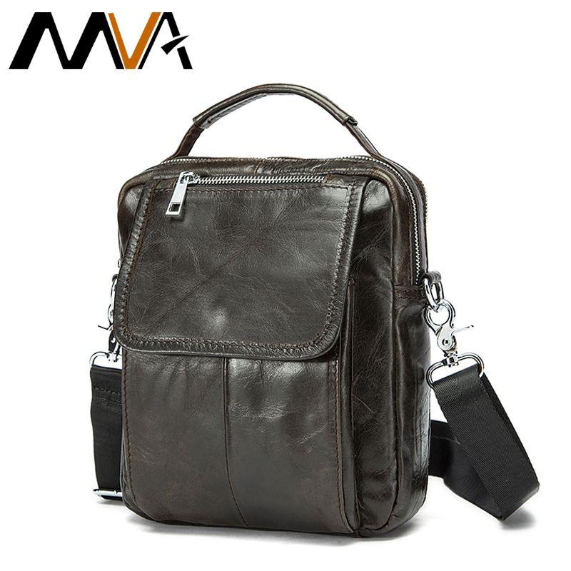 MVA Genuine Leather Men Bag Mini Messenger Bag Men's Shoulder Bags Male Crossbody Bags Handle-top Small Shoulder Handbags 9024