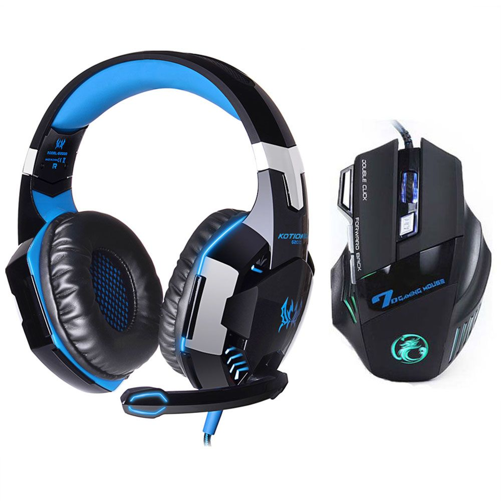 EACH G2000 LED Lights Hifi Pro Gaming Headphone Game Headset+7 Button 5500 DPI Professional Gamer Gaming Mouse Game Mice Gift