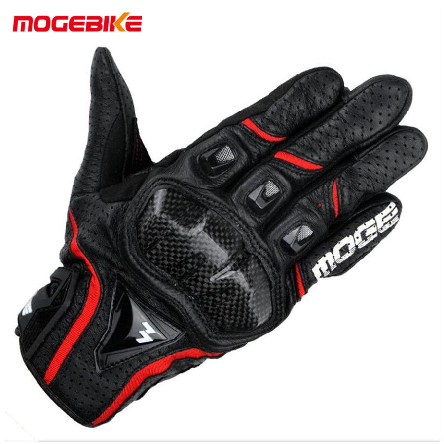MOGEBIKE Men's Genuine Cow Leather Motorcycle Touch Screen Gloves Summer perforation black color Motorbike Racing Riding Glove