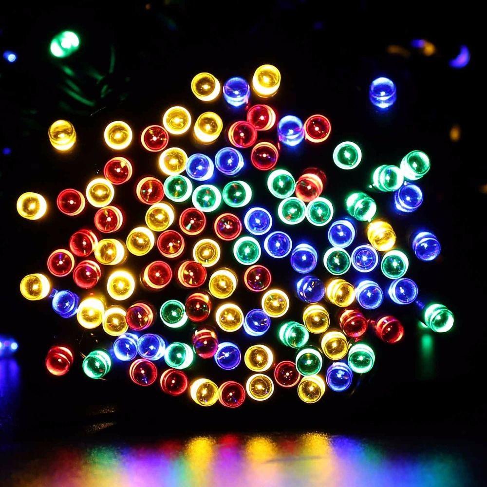 Lumières de noël En Plein Air 200 Led 22 M Lumière Solaire Fée Cordes Éclairage Lampe De Noël Décorations Pour la maison Parti Clôture Chemin pelouse
