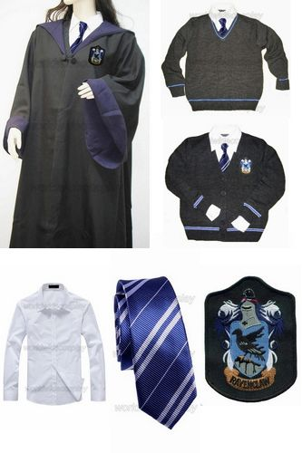 Free Shipping Harry Ravenclaw Cosplay Robe Cloak Pullover Sweater Cardigan Shirt Necktie Custom Made for Christmas