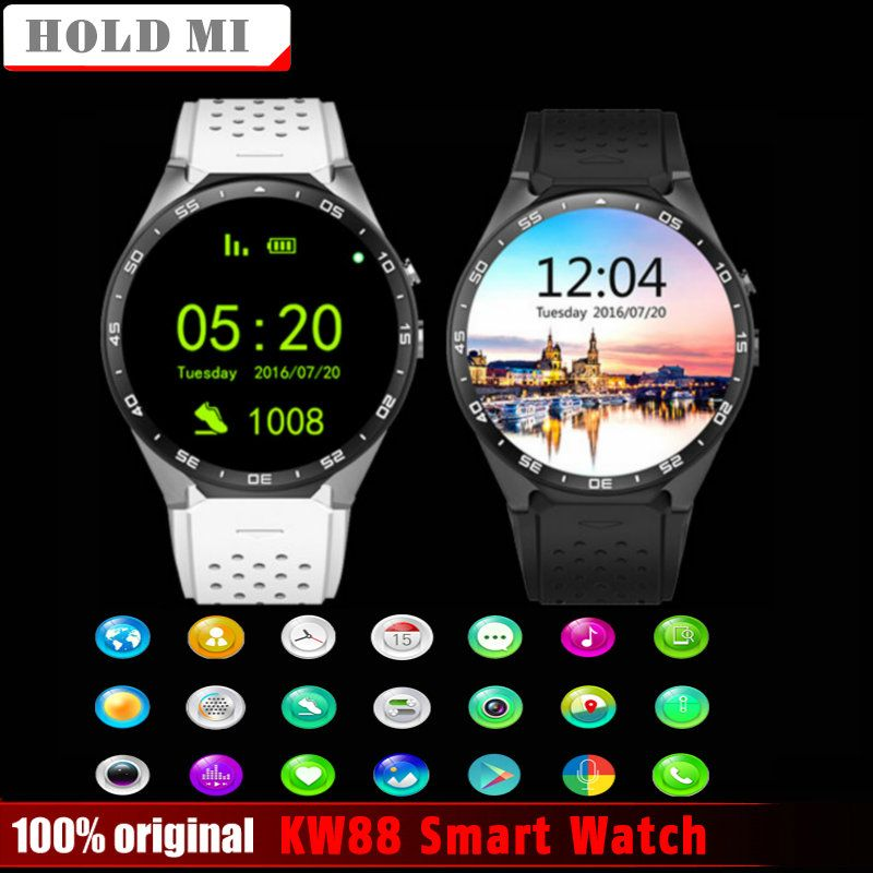 Hold Mi KW88 Android 5.1 OS Smart Watch Electronics Android 1.39 inch MTK6580 support 3G wifi nano SIM WCDMA SmartWatch phone