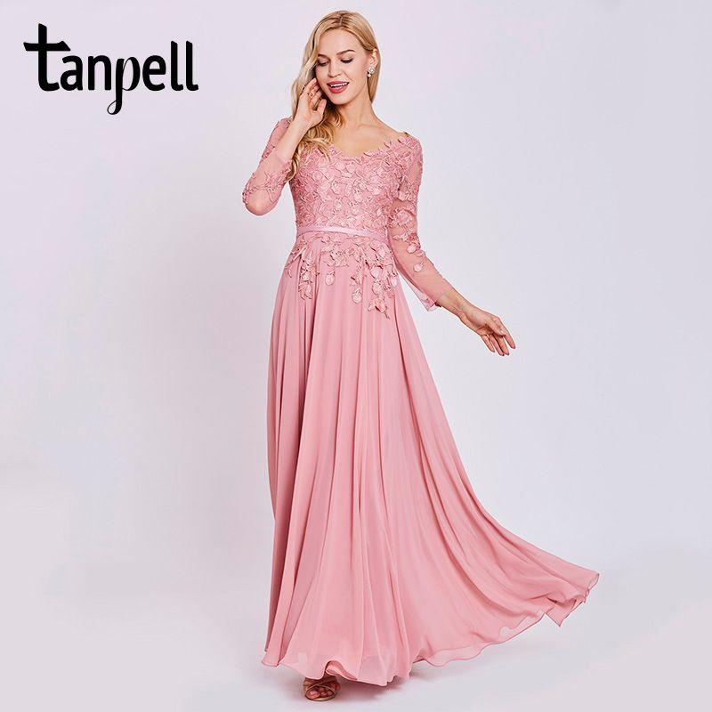 Tanpell appliques long evening dress elegant peach full sleeves floor length a line gown women chiffon formal evening dresses