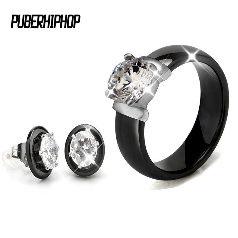 Hot Sale Crystal Wedding Jewelry Sets Black White Ceramic Earring and Rings Sets With Big Carat <font><b>Rhinestone</b></font> For Women Jewellery