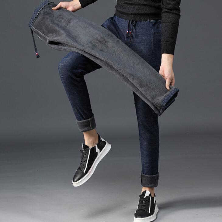 2019 hiver bonne qualité Discount hommes Jeans pour les offres spéciales chaud épaississement hommes pantalons