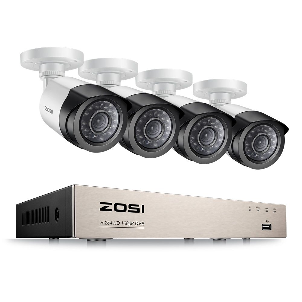 ZOSI 4CH <font><b>1080P</b></font> HDMI P2P TVI DVR Surveillance System Video Output 4PCS 2000TVL 2.0MP Camera Home Security CCTV Kits NO HDD