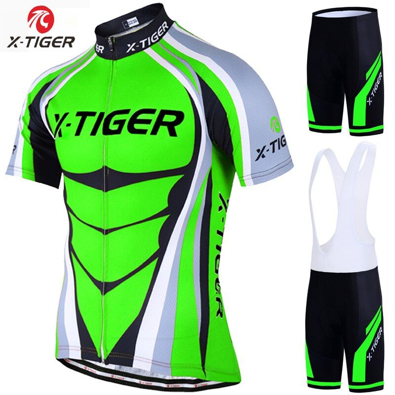 X-Tiger 2018 Cycling Jersey set Neon Green MTB Bike Clothes Summer Bicycle Clothing Cycling Set Maillot Conjunto Ropa Ciclismo