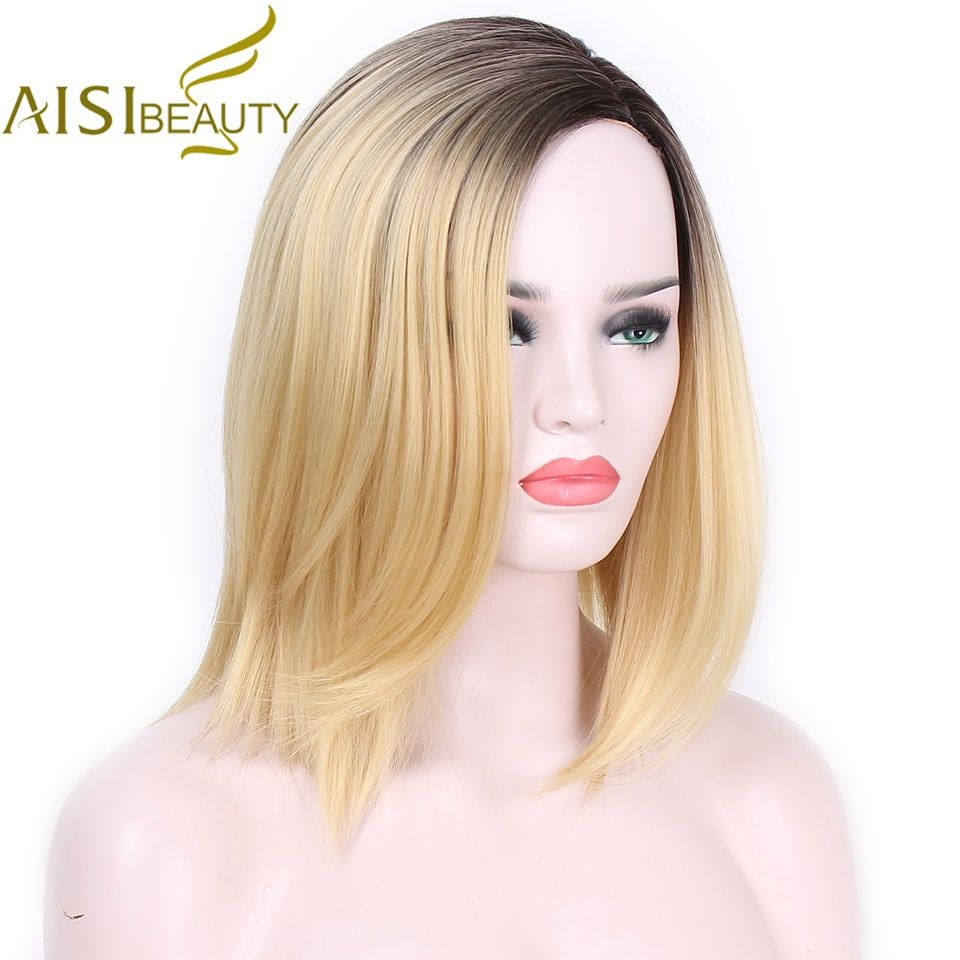 AISI BEAUTY Short Blonde Ombre Straight Synthetic Wigs for Women Cosplay wigs 13 <font><b>Colors</b></font> Hair Free Shipping shoulder length