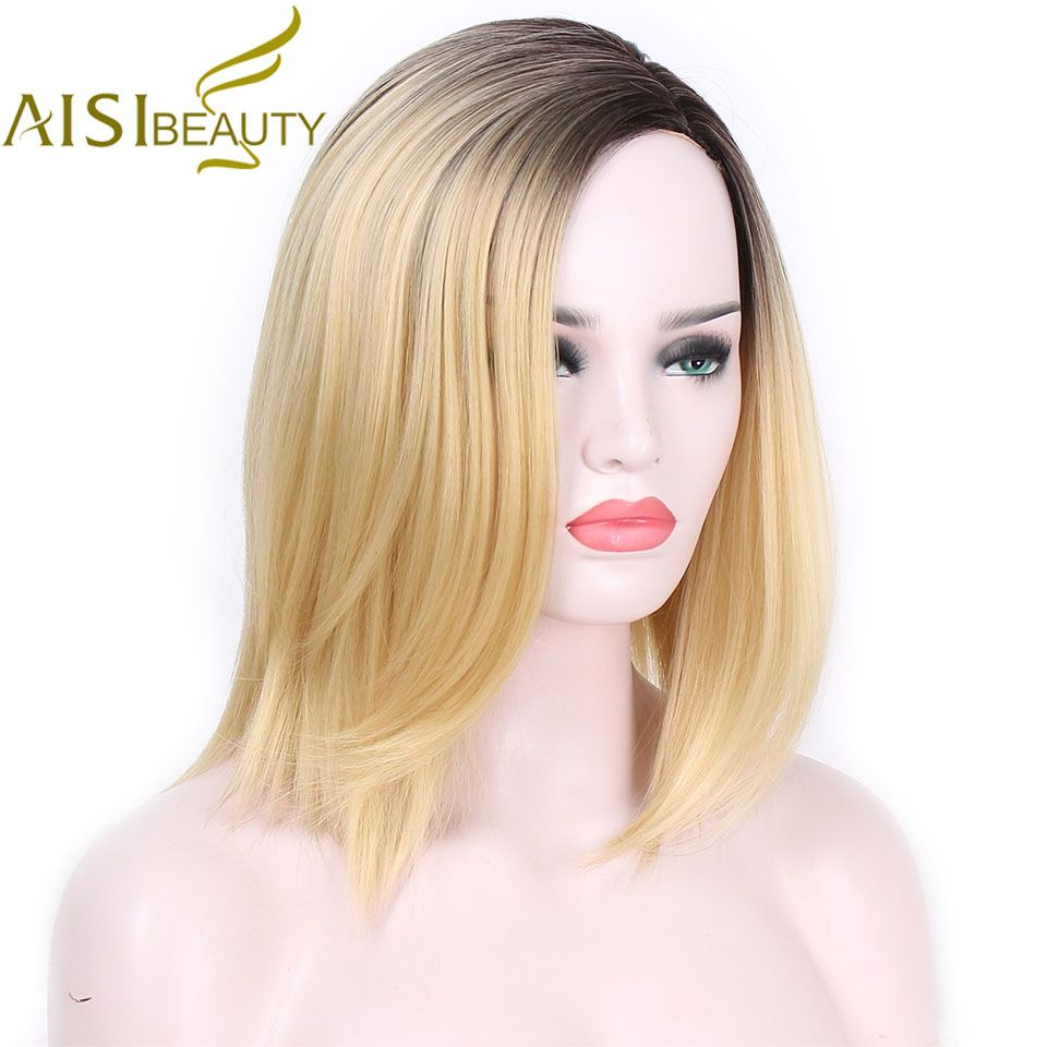 AISI BEAUTY Short Blonde Ombre Straight <font><b>Synthetic</b></font> Wigs for Women Cosplay wigs 13 Colors Hair Free Shipping shoulder length