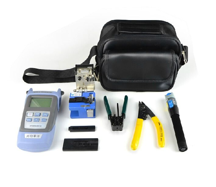 8 In 1 FTTH Fiber Optic Tool Kit with FC-6S Fiber Cleaver and Double port Miller Wire stripper 5MW Fault detector