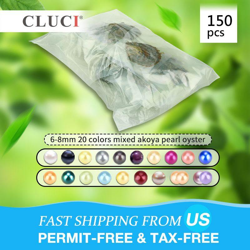 CLUCI 150 stücke 6-8mm Mix 20 Farben Natürliche Runde Akoya Perlen Salzwasser Perlen Vakuum Verpackt Austern mit perlen