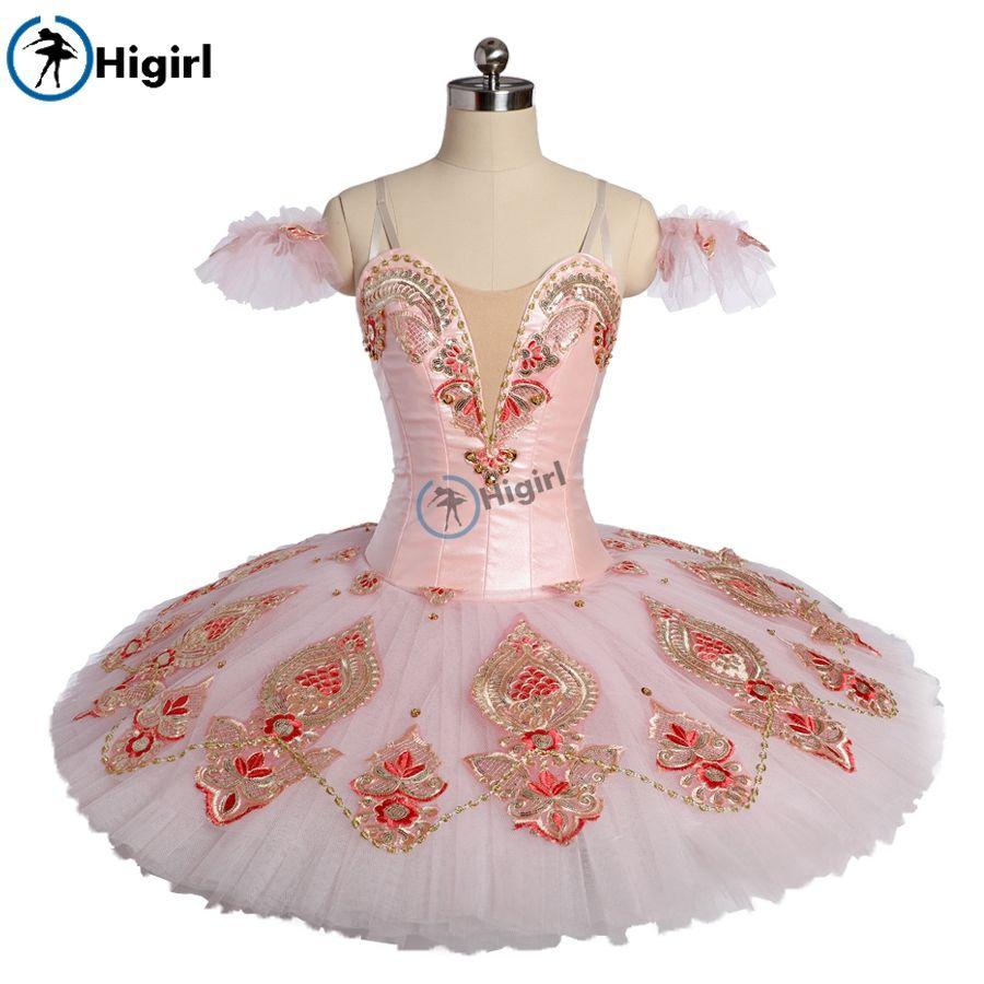 Adult sugar plum fairy Professional ballet tutu pink Gold pancake tutu skirt classical ballet costumes nutcracker BT9176